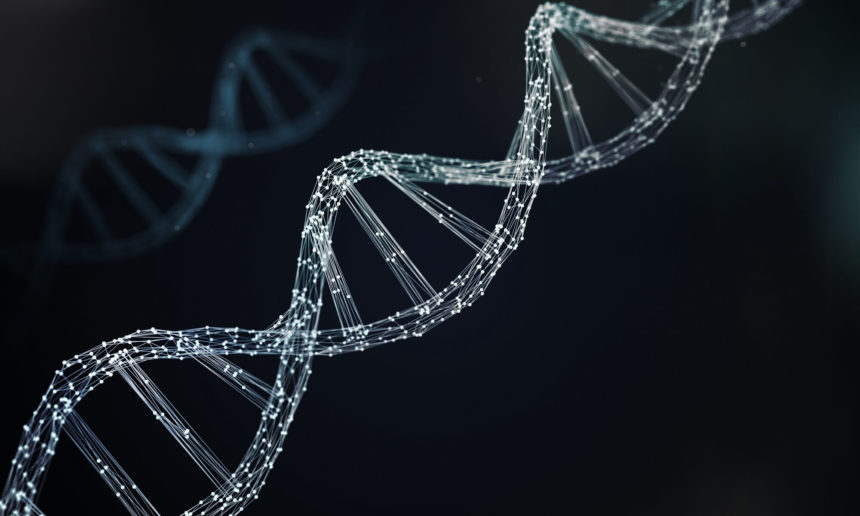 An illustration of a strand of DNA against a black background.