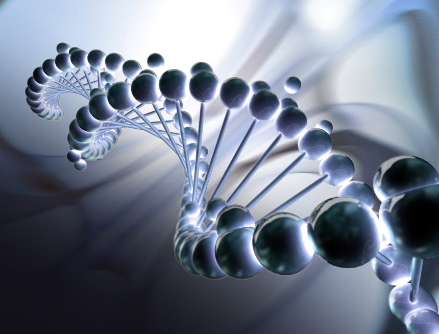 A closeup shot of a render of the DNA helix.