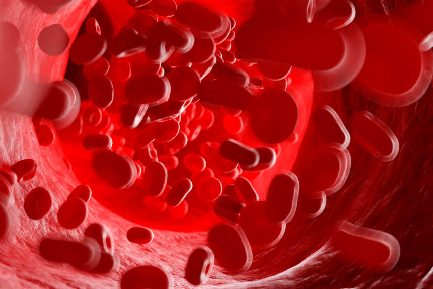 An illustration of red blood cells flowing through the bloodstream.