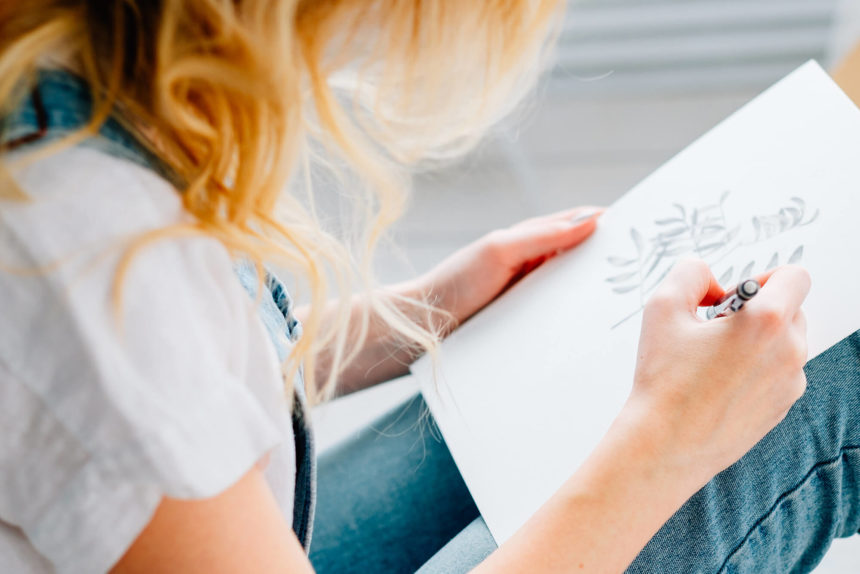 A patient particpates in art therapy.